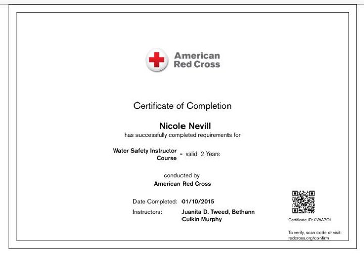 Red Cross Certified Water Safety Instructor | Nicole\'s Swim